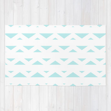 Turquoise Aqua Blue Tribal Triangles Area & Throw Rug by BeautifulHomes