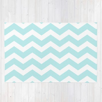 Turquoise Aqua Blue Chevron Area & Throw Rug by BeautifulHomes