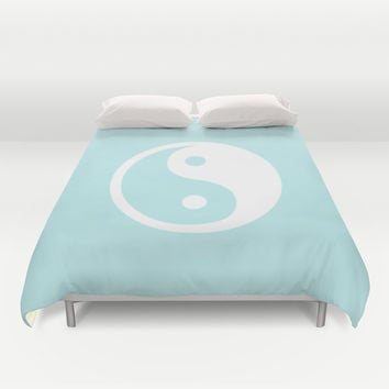 Turquoise Aqua Blue Harmony Yin Yang Duvet Cover by BeautifulHomes