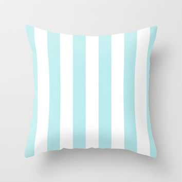 Turquoise Aqua Blue Stripe Vertical Throw Pillow by BeautifulHomes