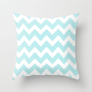 Turquoise Aqua Blue Chevron Throw Pillow by BeautifulHomes