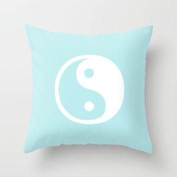 Turquoise Aqua Blue Harmony Yin Yang Throw Pillow by BeautifulHomes