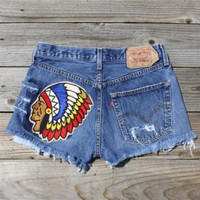 Vintage 70&#x27;s Native Patch Shorts, Sweet Country Inspired Vintage Clothing