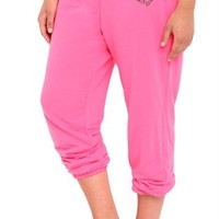 Plus Size Rolled Leg Sweatpants with Love Back and Sequin Heart