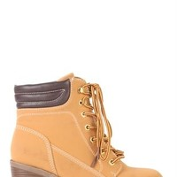Suede Lace Up Chunky Heel Hiker Boots with Padded Collar