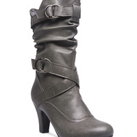 Slouchy Heeled Buckle Boots | Wet Seal
