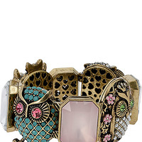 PET SHOP VINTAGE MULTI OWL STRETCH BRACELET MULTI
