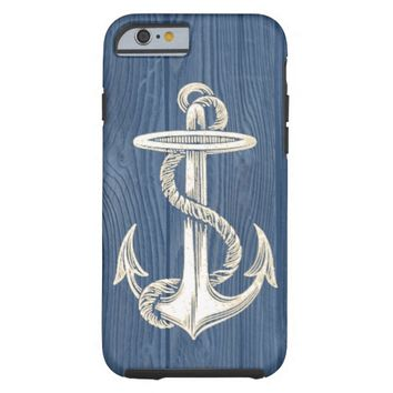 Anchor Vintage Blue Wood Beach iPhone 6 Case