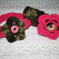 Camo and Hot Pink Headband Sized Newborn with Bling- Adult headband- Ready to ship, Photo Prop Pick one, or set