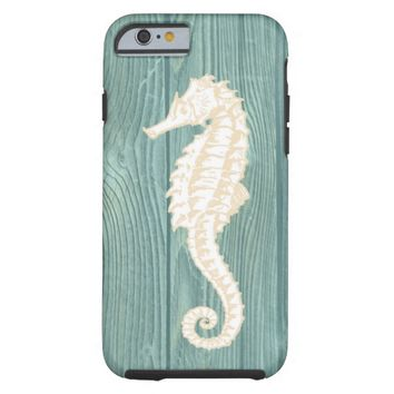 Sea Horse Vintage Aqua Wood Beach iPhone 6 Case