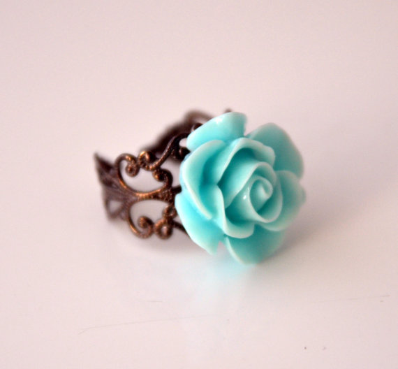 aqua blue cabochon 20 mm adjustable ring victorian style wedding jewelry bridal jewelry bridesmaids gift