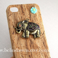 antique brass elephant charm, resin flower, light brown wood grain color iPhone 4/4S case, Apple iPhone 4 Case,  iPhone 4 Hard Case