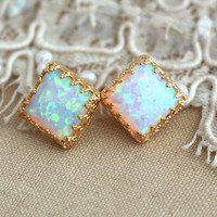Opal gold studs earrings, White Opal earrings, Gold Lace setting, Gift for Woman - 18 k Gold filled Crown settings Opal Synthetic stone.
