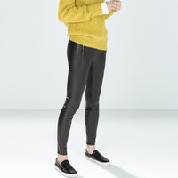 Faux leather legging with zips