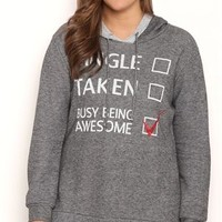 Plus Size French Terry Tunic Hoodie with Single Taken Awesome Screen