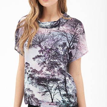 Funnel-Neck Tree Print Top