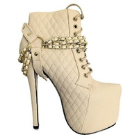 Nelly-08 Cream Quilted Platform Ankle Boot Lace up Stiletto Heels
