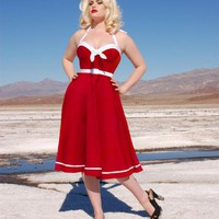 Sailor Swing Dress in Red with White Trim from Pinup Couture | Pinup Girl Clothing