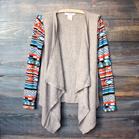 aztec print sleeves lightweight cardigan - taupe