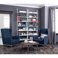 stairway white wall mounted bookcase