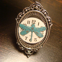 Victoran Style Watch Face with Dragonfly  Pendant Necklace  - Upcycled Jewelry  (1850)