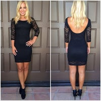 Starry Night Bodycon Lace Dress - BLACK