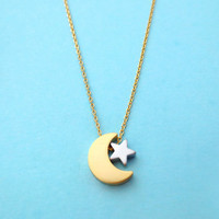Moon, And, Star, Necklace, Best, Friend, Necklace, Girl, Friend, Gift, Birthday, Necklace, Christmas, Necklace, Gift, Jewelry, Necklace