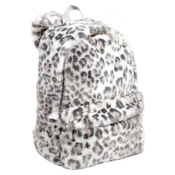 Fur Grey Cheetah Backpack