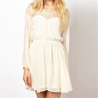 White Long Sleeve Dress with Lace Front