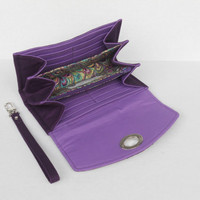 iPhone Accordion Wallet, Purple Wallet Clutch Wristlet, Clutch Wallet with Detachable Strap, Flap with Twist Lock Closure, Ready to Ship
