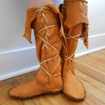 Handmade, Hand Sewn Tall Moccasins, Native American, Custom Made by Oglala Lakota Artist, Hippie, Bohemian, Gypsy