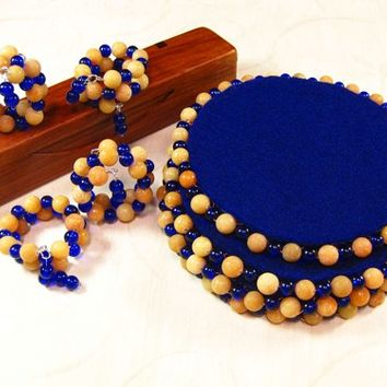 Navy Blue Coasters and Matching Napkin Rings, Peach and Blue Beads