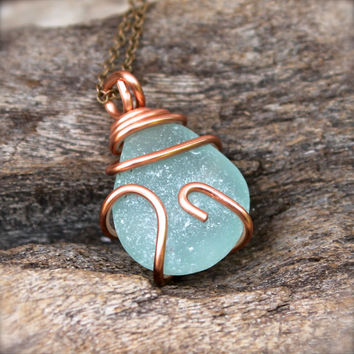 Sea Glass Jewelry made in Hawaii - Sea Glass Necklace - Aqua Blue Seaglass Jewelry by Mermaid Tears - Beach Boho Jewelry Gypsy Necklace