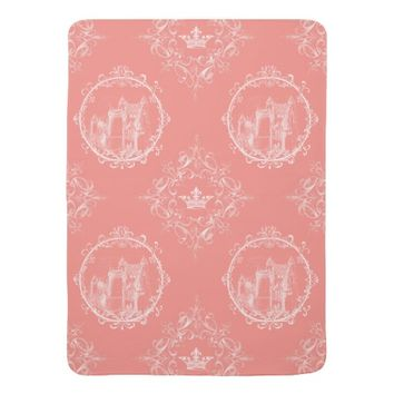 Fairy Tale Castle Crown Coral Baby Blanket