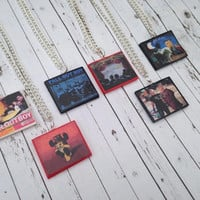 Fall Out Boy album necklaces made from polymer clay