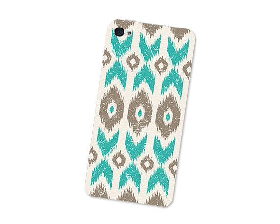 Ikat Geometric Iphone Skin 4S: Gadget Sticker Cover for Iphone 4 Skin - Southwest Tribal in Turquoise Blue, Brown and Cream Boho Iphone Skin