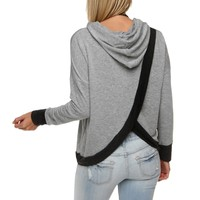 Gray Envelope Back Hooded Sweatshirt