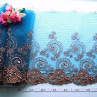 Peacock blue lace trim,  brown embroidery,  2 yards BL070R