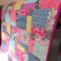 Baby Girl Quilt, Modern Crib Quilt, Bright Colors & Bold Patterns
