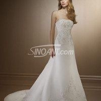 Buy Fascinating White A-line Strapless Neckline Wedding Dress under 200-SinoAnt.com