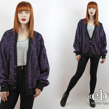Vintage 90s Purple Graphic Cardigan Sweater S M L Oversized Sweater Oversized Knit Purple Cardigan Hipster Sweater Grandpa Cardigan