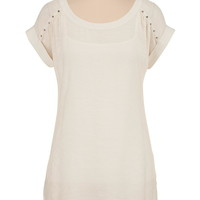 Textured high-low tunic with metallic studs