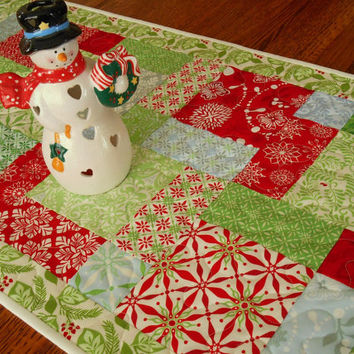 Christmas Quilted Table Runner in Moda's Solstice Prints with Red Green and Blue