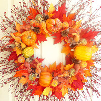 Pip berry wreath - Fall wreath - Pumpkin wreath - Harvets wreath - Thanksgiving wreath - Autumn wreath