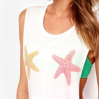Amybria Women's Starfish Print Side Open Bow Tie See Through Tank Top