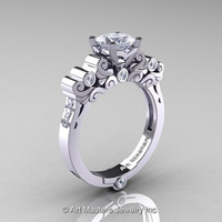 Classic Armenian 950 Platinum 1.0 Ct Princess CZ Diamond Solitaire Wedding Ring R608-PLATDCZ