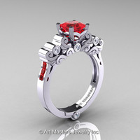 Classic Armenian 950 Platinum 1.0 Ct Princess Rubies Diamond Solitaire Wedding Ring R608-PLATDR