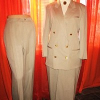 AUGUSTUS SUIT Classy Jacket With Pants & Skirt Beige Wool Lined S14 MADE IN USA