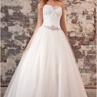 Tulle a-line strapless v-neck lace-up back wedding dresses 2012 BAML0027