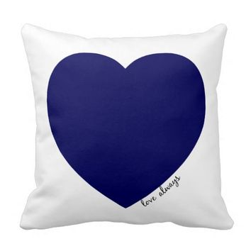 love always; navy & red hearts on white pillow